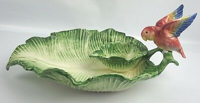 Fitz and Floyd Embossed Parrot Leaf Platter Chips and Salsa Green