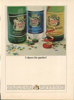 Canada Dry 3 cheers for parties Ginger Ale Soda ad 1965