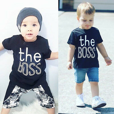 Summer Toddler Baby Boy T-shirt Casual Short Sleeve Graphic Tee Tops Blouse Kids