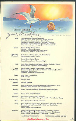 Holland america line s s nieuw amsterdam breakfast menu card 313 holland america line s s nieuw amsterdam breakfast menu card 313 1963 seagull publicscrutiny Image collections