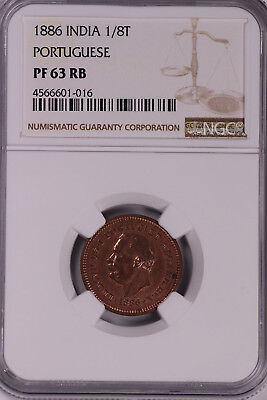 Ngc-Pf63Rb 1886 India Portuguese 1/8T Much Red