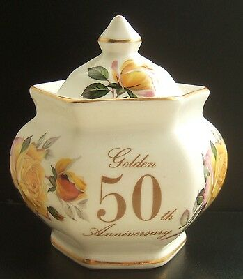 Lidded Floral Pot by Fenton China : Golden 50th Anniversary : Nice Piece