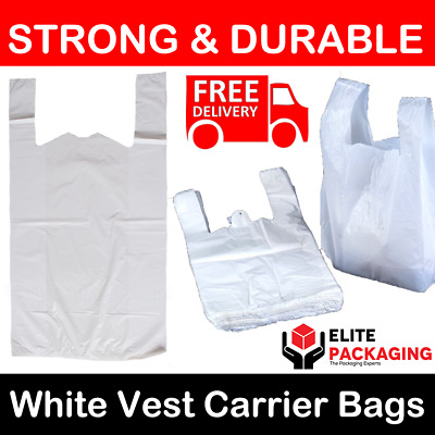 "1000 x WHITE PLASTIC CARRIER BAGS 11x17x21"" 16MU SHOP SUPERMARKET MARKET STALL"