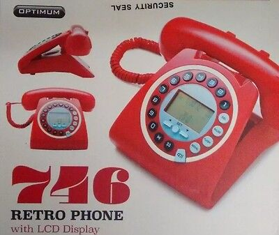 New 746 Retro GPO Vintage Style Work / Home Phone With Caller ID Red