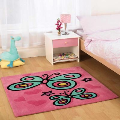 Butterlies Stars Hearts Pink Blue Yellow Non-Slip Square Rug Mat 90Cm X 90Cm