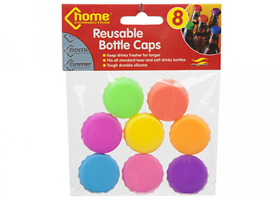 8 Reusable Bottle Caps Lids Silicone Beer Drinks Fizzy Wine Soft Drink Save Lid