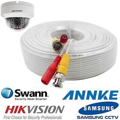 30M White BNC DC CCTV Security Video Camera DVR Record Hikvision Power Cable New