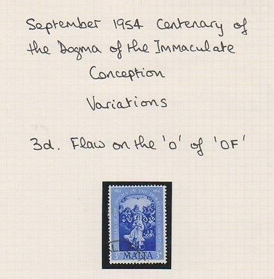 """Malta - 1954, 3d Bright Blue stamp - Flaw on the """"O"""" of """"OF"""" at the top of stamp"""