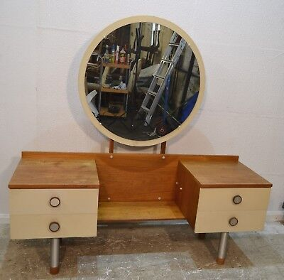 Vintage Mid Century G-Plan Style Dressing Table With Circular Mirror - 3111