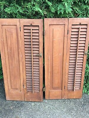 """PAIR ANTIQUE  Pine. WOODEN 1/2 LOUVERED SHUTTERS 32.75"""" TALL/31.25""""TOTAL WIDTH"""