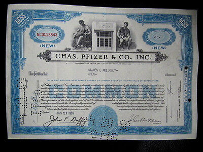 """Chas. Pfizer & Co., Inc."", blaue Variation, ""less than 100 Shares"""