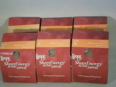 Lot Of 6 Leggs Pantyhose Sheer Energy  Top Size A                            SE3