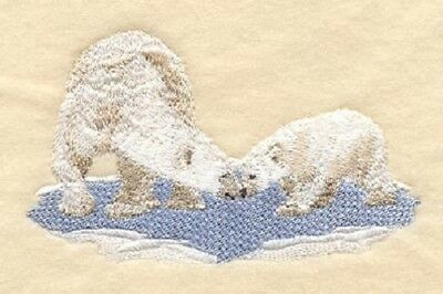 Embroidered Long-Sleeved T-Shirt - Polar Bear and Cub D1450 Sizes S - XXL