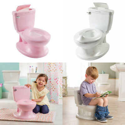 My Size Potty Summer Infant Flush Sound Flip Lid Pink White Wipe Holder