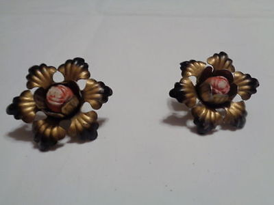 Pair Of Antique Vtg Mystery Pins Gold? W/black Accents & Red Rose Center