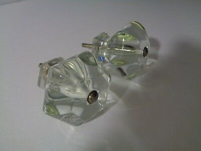 pair of vintage 6 sided clear glass large beautiful cabinet hardware knobs pulls
