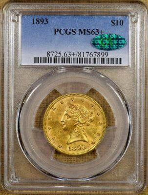 1893 PCGS MS63+ $10 Liberty Gold Eagle - Better Date - CAC Stickered