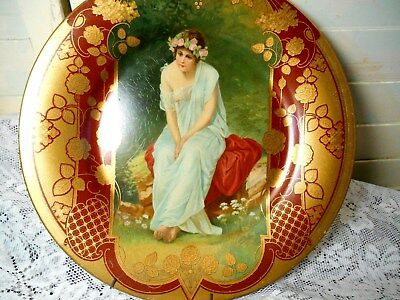 Beautiful Maid on  Vintage Metal Picture Plate-Royal Saxony