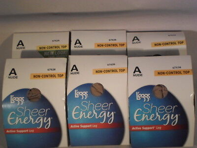 Lot Of 6 Leggs Pantyhose Sheer Energy  Size A                                SE1