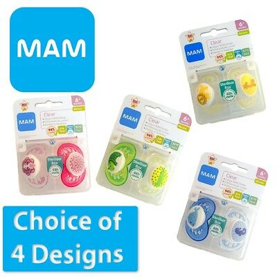 MAM Clear - Soother Twin Pack - 6m+  (CHOICE OF DESIGN - BOYS/GIRLS) (A86)