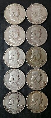 Lot of 10 50c Franklin Silver Half Dollars