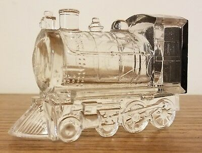 """Antique Westmoreland Glass 4"""" Train Locomotive Candy Container w/Tin Litho Cover"""