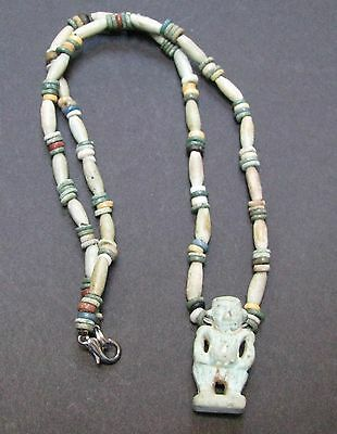 NILE  Ancient Egyptian Pataikos Amulet Mummy Bead Necklace ca 1000 BC