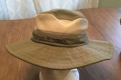 BOY SCOUTS OF AMERICA Boonie Style Hat Khaki Mesh Top Sz. Small VGC!