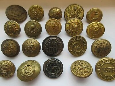 LARGE Lot 20 Antique Metal Uniform Military BUTTONS From RARE Estate Collection