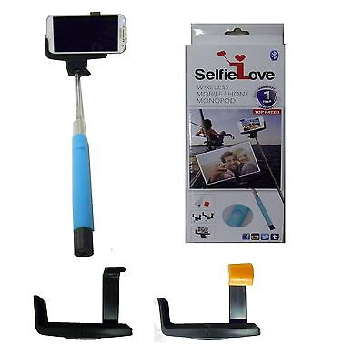 NEW SelfieLove® Wireless Smartphone Monopod Bluetooth Camera Selfie Stick BLUE