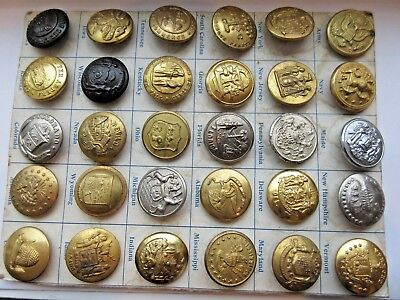 LARGE Lot 30 Carded Antique Metal Uniform/ Military BUTTONS From RARE Collection