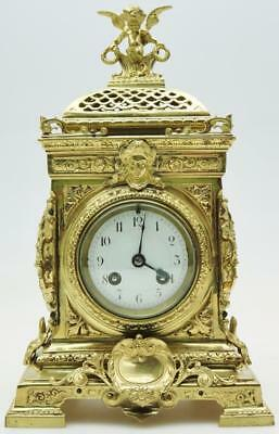 Superb Antique 19thc French Pierced Bronze 8 Day Bell Striking Cube Mantel Clock