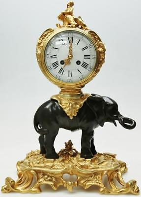 Rare Antique French Empire 8 Day Patinated Bronze Ormolu Elephant Mantle Clock