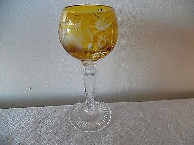 Vintage Ajka Marsala Bohemian/czech Amber Cut To Clear Crystal Cordial