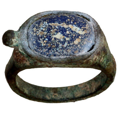 Rare-Circa 300-100 Bc-Ancient Greek Bronze Ring With Nice Blue Glass Stone