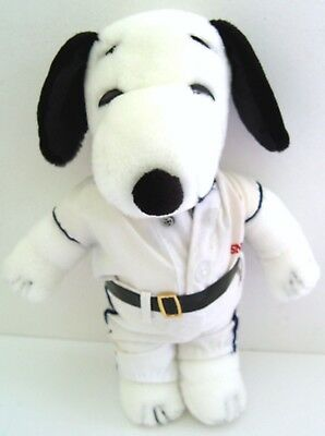 """Vintage 1970's Peanuts SNOOPY 11"""" PLUSH DOLL w/ BASEBALL OUTFIT 4241 - NO CAP!!"""