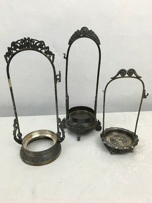 c1890 Victorian Silverplate 3 PICKLE CASTOR Frames, Pairpoint, Wilcox, Bowman NR