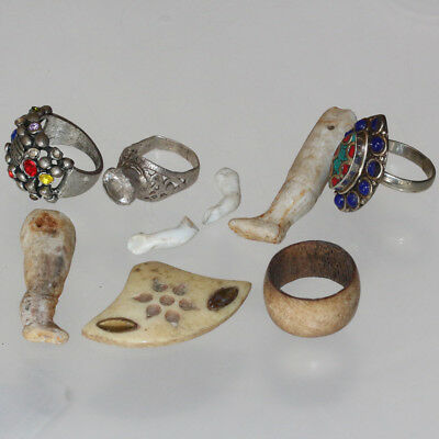 Nice Lot Of Late Medieval To 1900 Ad-Silvered Rings-Porcelain Artifacts & B0Ne