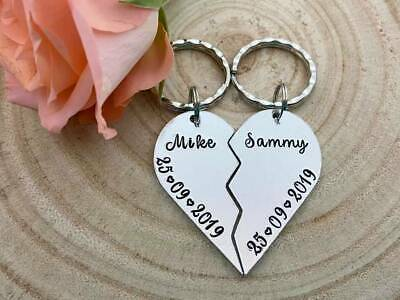 Handmade Personalised Couples Keyrings Set Heart Split Anniversary  Valentines 2d8ec10f234d