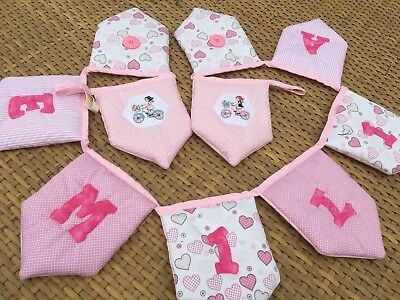 Personalised Children's Padded Luxury Pink Quilted Bunting Any Name Girls Room