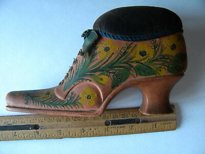 Vintage or Antique Hand Painted Wood Shoe Pin Cushion