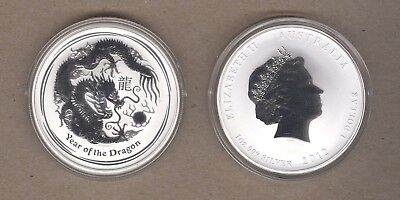 2012 Australia Lunar Series One Ounce Silver Year Of The Dragon Coin