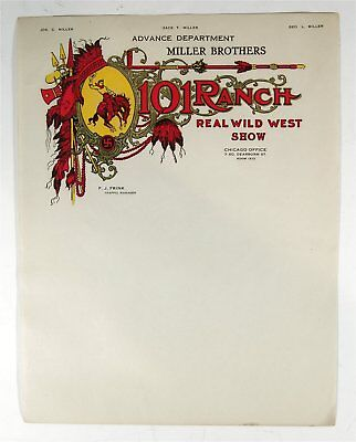 ca1910 MILLER 101 RANCH WILD WEST ILLUSTRATED ADVERTISING LETTERHEAD STATIONERY