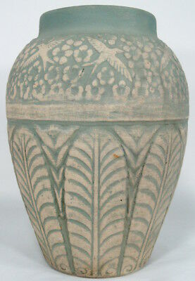 "Vtg 15"" Arts & Crafts era Stoneware Floor Vase Monmouth/Red Wing Brushware era"
