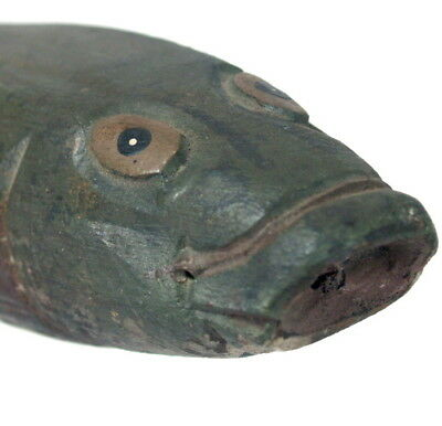 Vintage Primitive Outsider Folk Art Old Carved Painted Wood FISH Spotted Catfish