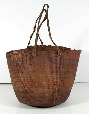 1900s NATIVE AMERICAN NOOTKA INDIAN HAND WOVEN DECORATED BASKET CALIFORNIA #2