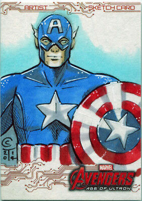 Marvel Avengers Age of Ultron Art Sketch Card by Collette Turner of Capt America