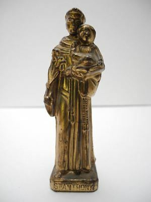 "Old Vintage Cast Metal Gold Tone 4"" St Anthony Statue"