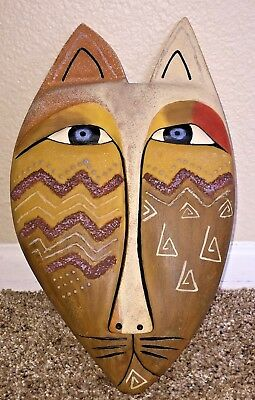 """Vintage 1999 LAUREL BURCH ~ Collectible Resin Zig Zag CAT 11"""" Wall Mask Signed"""