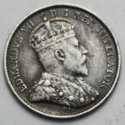Canada 1909 Round Leaves Sterling Silver 5 Cents, Nice Grade, King Edward VII